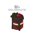 hristmas brownie chocolate cake greeting card vector image