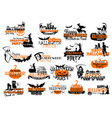 icons for happy halloween holiday party vector image vector image
