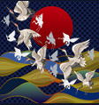 japanese cranes against the background vector image vector image