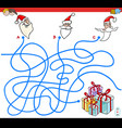 lines maze game with christmas santa characters vector image vector image
