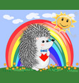 lovely cartoon hedgehog near the seven-colored vector image