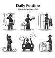 morning daily routine collection vector image vector image