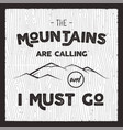 mountain poster in retro silhouette style vector image