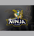 ninja esports mascot logo design vector image