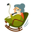 old woman on retirement sitting in wooden rocking vector image vector image