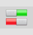on and off toggle switch buttons red and green 3d vector image vector image