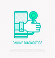 online diagnostics hand with stethoscope vector image