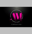 pink am brush stroke letter logo design