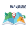 Red marker with question on flat style map vector image