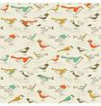 retro sparrow birds pattern vector image vector image