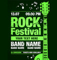 rock festival and party flyer design with guitar vector image vector image