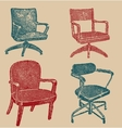 Seats set in retro stile vector image vector image