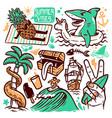 set beach doodle vector image