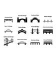 set bridge landmark icons in silhouette style vector image vector image