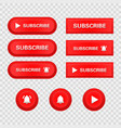 subscribe button icon set red realistic switch in vector image