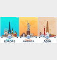 travel posters to europe america asia vacation vector image vector image