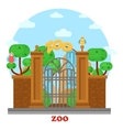 zoo entrance with waterfall and parrots on tree vector image vector image