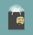 black abstract gift bag and hanging birthday tag vector image