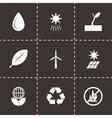 black eco icon set vector image vector image