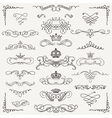 Black Vintage Hand Drawn Swirls and Crowns vector image vector image