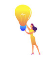 businesswoman holding a big bulb light in her vector image vector image