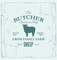butcher american shop label design with sheep vector image vector image