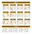 Calendar 2017 set 12 month on brown background vector image vector image