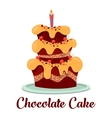 Candle on top of birthday cake with cream vector image vector image