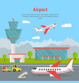 cartoon airport building and airplanes concept vector image vector image
