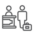 check-in line icon hotel and service reception vector image vector image