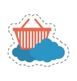 cloud basket shop market online cut line vector image vector image