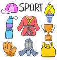 collection of object sport equipment doodle vector image vector image