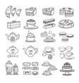 confectionery icon set of cute various desserts vector image vector image