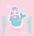 cute little mermaid seawee bubbles sea cartoon vector image vector image