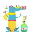 cute sitting monster with flowers bottle vector image