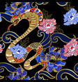 design clothers with snake and peony patch vector image vector image