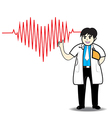 Doctor man red heart beats with cardiogram vector image vector image