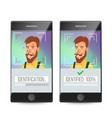 face recognition mobile identification vector image vector image