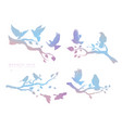 figure set multicolored flock flying birds on vector image