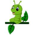 funny caterpillar runs on a tree branch vector image vector image