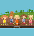 girls gardeners on a kitchen garden vector image