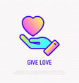 give love hand with heart thin line icon vector image