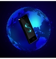 Globe and phone receivers vector image vector image
