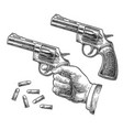 hand firing a gun for starting race vector image