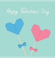 happy valentines day two sticks with origami vector image vector image