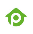 home combined with letter p logo vector image vector image
