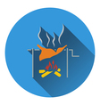 Icon of roasting meat on fire vector image vector image