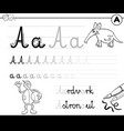 learn to write letter a workbook for children vector image vector image