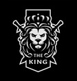 lion king symbol logo emblem on a dark vector image vector image
