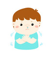 little boy with a cold shivering vector image vector image
